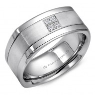 CrownRing A soft square white gold wedding band with brushed center and four diamonds.