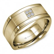 CrownRing A soft square yellow gold wedding band with brushed center and four diamonds.
