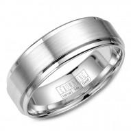 CrownRing white gold wedding band with brushed center and polished edges.