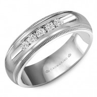 CrownRing wedding band with milgrain detailing, brushed center and five round channel set diamonds.