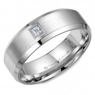CrownRing white gold wedding band with beveled edges, brushed center and a princess cut diamond.
