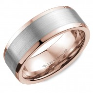 CrownRing wedding band in rose gold with brushed white gold center and polished edges.