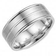CrownRing brushed white gold wedding band with polished line detailing.