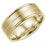 CrownRing brushed yellow gold wedding band with polished line detailing.