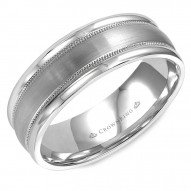 CrownRing brushed white gold wedding band with milgrain detailing and polished edges.