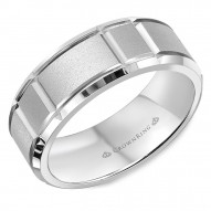 CrownRing A sandblasted white wedding band with notch detailing and beveled edges.