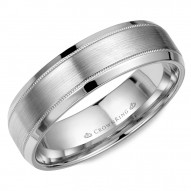 CrownRing white gold wedding band with milgrain detailing, brushed center and beveled edges.