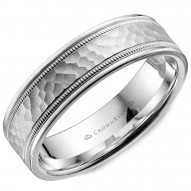 CrownRing white gold wedding band with a hammered center, line and milgrain detailing.