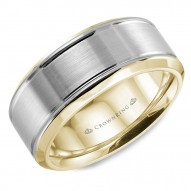 CrownRing yellow gold wedding band with brushed white gold center and beveled edges.