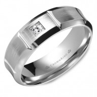CrownRing white gold wedding band with a round diamond and line detailing.