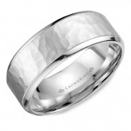 CrownRing white gold wedding band with a hammered center.