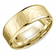 CrownRing yellow gold wedding band with a hammered center.