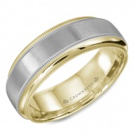 CrownRing white and yellow gold wedding band with brushed center and milgrain detailing.
