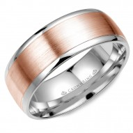CrownRing white gold wedding band with brushed rose gold center.