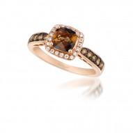 WIVI 209 14k Strawberry GoldChocolate QuartzRing with Chocolate Diamondsand Vanilla Diamonds
