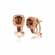 WIVI 210 14k Strawberry GoldChocolate QuartzEarrings with Chocolate Diamondsand Vanilla Diamonds
