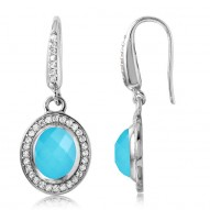"Sterling Silver ""Riva"" Turquoise Doublet Gemstone Earrings With Rhodium"