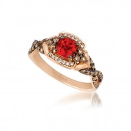 YQEM 1 14k Strawberry Gold Neon Tangerine Fire Opal™ Ring with Chocolate Diamondsand Vanilla Diamonds