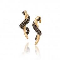 ASMK 96 14k Honey Gold™ Sinuous Swirls™ Earrings with Chocolate Diamonds