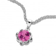 Sterling Silver Pink Sapphire Necklace