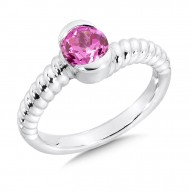 Sterling Silver and Pink Sapphire Ring