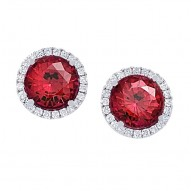 Diamond and Chatham Ruby Earrings