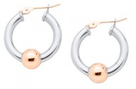 SS/RG Cape Cod Bead Hoop Earrings