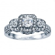 Rm1113r-14k White Gold Round Cut Diamond Vintage Style Engagement Ring