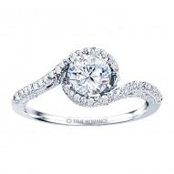 Rm1159-14k White Gold Vintage Engagement Ring