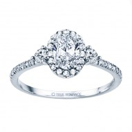 Rm1345v-14k White Gold Oval Cut Halo Diamond Engagement Ring