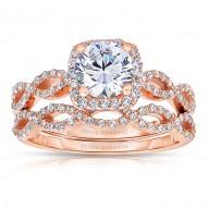 Rm1390r_set -14k White Gold Round Cut Halo Diamond Infinity Engagement Ring