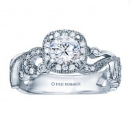 Rm1432-14k White Gold Vintage Engagement Ring