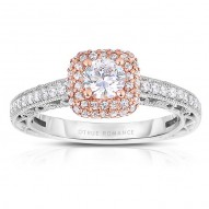 Rm1434rrs -14k White Gold Round Cut Double Halo Diamond Vintage Engagement Ring