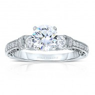 Rm1446 -14k White Gold Round Cut Diamond Vintage Engagement Ring