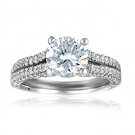 Rm996-14k White Gold Engagement Ring From Nostalgic Collection
