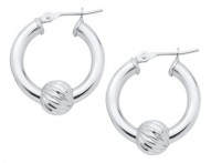 SS Cape Cod Swirl Bead Hoop Earrings