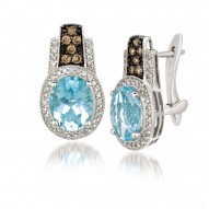 SUTS 117 14k Vanilla GoldSea Blue AquamarineEarrings with Chocolate Diamondsand Vanilla Diamonds