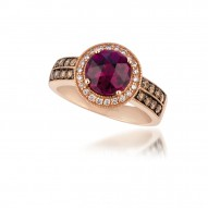 SUTS 154 14k Strawberry GoldRaspberry RhodoliteRing with Chocolate Diamondsand Vanilla Diamonds