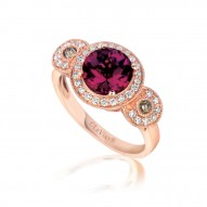 SUTS 181 14k Strawberry GoldRaspberry RhodoliteRing with Chocolate Diamondsand Vanilla Diamonds