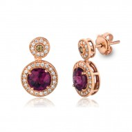 SUTS 183 14k Strawberry GoldRaspberry RhodoliteEarrings with Chocolate Diamondsand Vanilla Diamonds