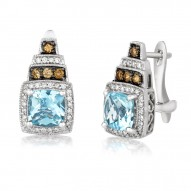 SUTS 33 14k Vanilla GoldSea Blue AquamarineEarrings with Chocolate Diamondsand Vanilla Diamonds