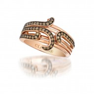 SUXK 43 14k Strawberry GoldSinuous Swirls™ Ring with Chocolate Diamondsand Vanilla Diamonds