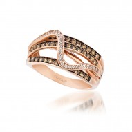 SUXK 94 14k Strawberry GoldSinuous Swirls™ Ring with Chocolate Diamondsand Vanilla Diamonds