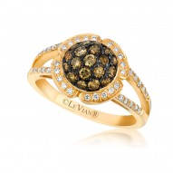 WIMX 132 14k Honey Gold™ Ring with Chocolate Diamondsand Vanilla Diamonds