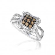 WIMX 144 14k Vanilla GoldRing with Chocolate Diamondsand Vanilla Diamonds