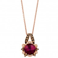 WIMX 181 14k Strawberry GoldRaspberry RhodolitePendant with Chocolate Diamondsand Vanilla Diamonds