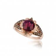 WIMX 183 14k Strawberry GoldRaspberry RhodoliteRing with Chocolate Diamondsand Vanilla Diamonds