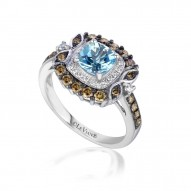 WIMX 198 14k Vanilla GoldSea Blue AquamarineRing with Chocolate Diamondsand Vanilla Diamonds