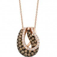 WIUB 6 14k Strawberry GoldGladiatorWeave™ Pendant with Chocolate Diamondsand Vanilla Diamonds