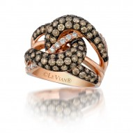 WIUB 8 14k Strawberry GoldGladiatorWeave™ Ring with Chocolate Diamondsand Vanilla Diamonds